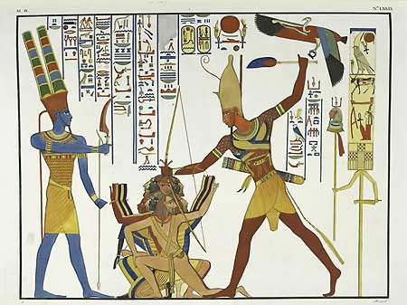"Amun presiding over the smiting of Ramses III's enemies. From a collection of reproductions of the frescoes in Abu Simbel temple by J. F. Champollion, first published under the title ""Monuments de l'Egypte et de la Nubie d'apres les dessins executes sur les lieux."" (1835-1845)"