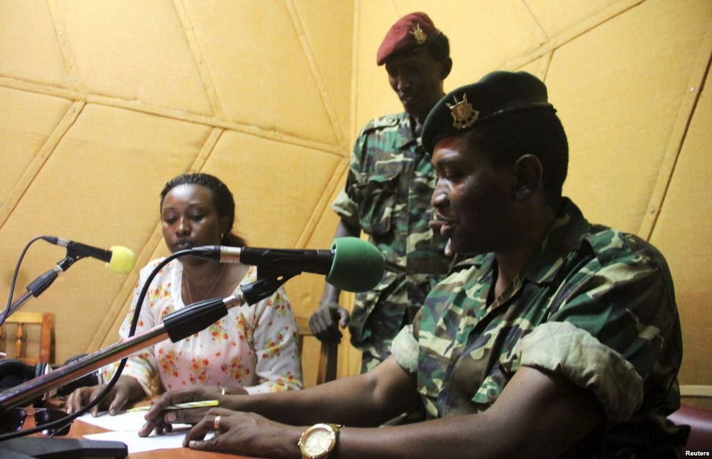 In a radio broadcast to the nation, General Godefroid Niyombare announces a coup to overthrow President Pierre Nkurunziza.