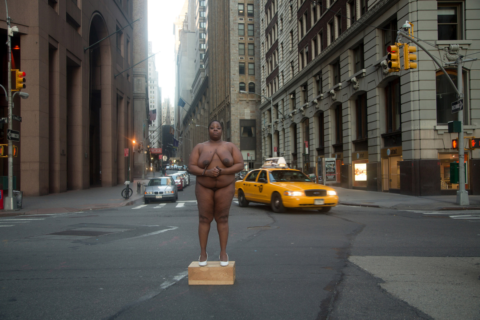 """From her body sprang their greatest wealth."" Site of Colonial Slave Market - Wall Street. Nona Faustine"