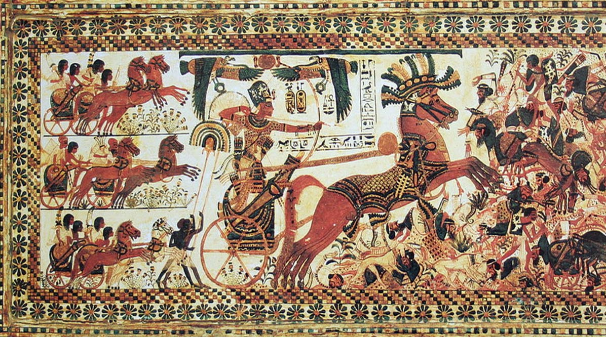 Pharaoh Tutankhamun riding a chariot to war.