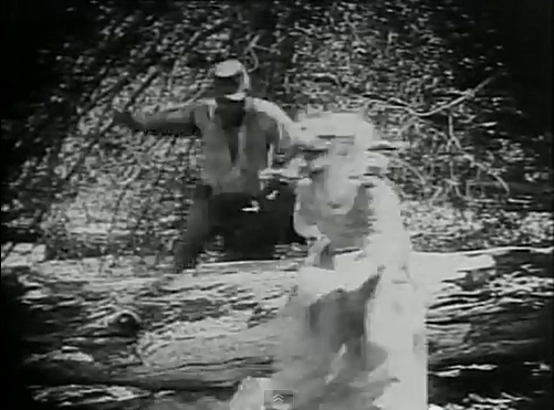 Flora runs in fright, and jumps off a cliff rather than be raped by a Black soldier (a white man in black face).