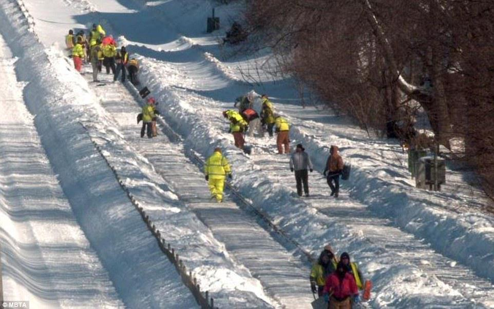 In Boston, prisoners shovel snow, at the rate of 20 cents per hour,  to clear up roads.