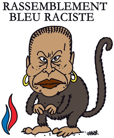 A monkey cartoon representing the French justice minister, Christiane Taubira, who is Black.