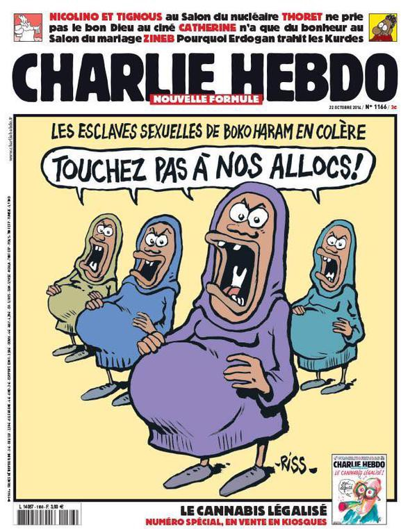 One of Charlie Hebdo's covers from last year depict the girls who were kidnapped by Boko Haram last year in Nigeria portraying them as pregnant welfare queens.