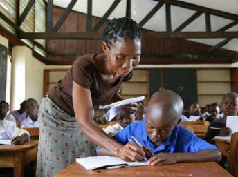 A teacher in a school in Ganta Town, Liberia.