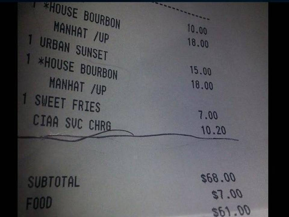 Patrice Wright's bill indicated a surcharge was attached during CIAA week.
